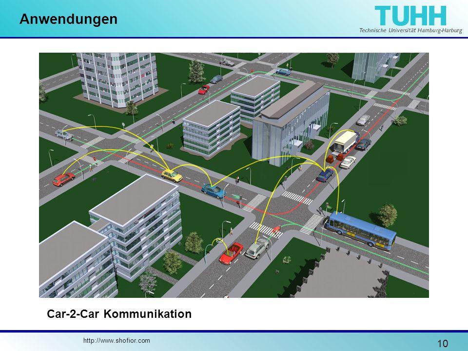 10 Anwendungen http://www.shofior.com Car-2-Car Kommunikation