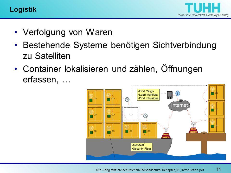 11 Logistik Verfolgung von Waren Bestehende Systeme benötigen Sichtverbindung zu Satelliten Container lokalisieren und zählen, Öffnungen erfassen, … h
