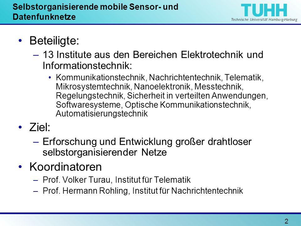2 Selbstorganisierende mobile Sensor- und Datenfunknetze Beteiligte: –13 Institute aus den Bereichen Elektrotechnik und Informationstechnik: Kommunika