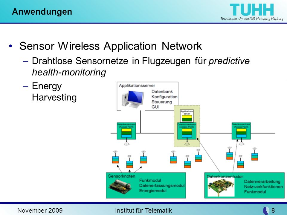 November 2009Institut für Telematik8 Anwendungen Sensor Wireless Application Network –Drahtlose Sensornetze in Flugzeugen für predictive health-monito