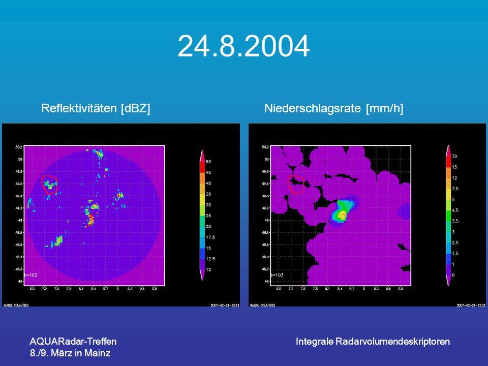 AQUARadar-Treffen 8./9. März in Mainz Integrale Radarvolumendeskriptoren 24.8.2004 Reflektivitäten [dBZ]Niederschlagsrate [mm/h]