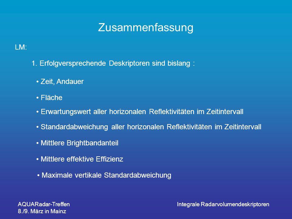 AQUARadar-Treffen 8./9. März in Mainz Integrale Radarvolumendeskriptoren Zusammenfassung LM: 1. Erfolgversprechende Deskriptoren sind bislang : Erwart