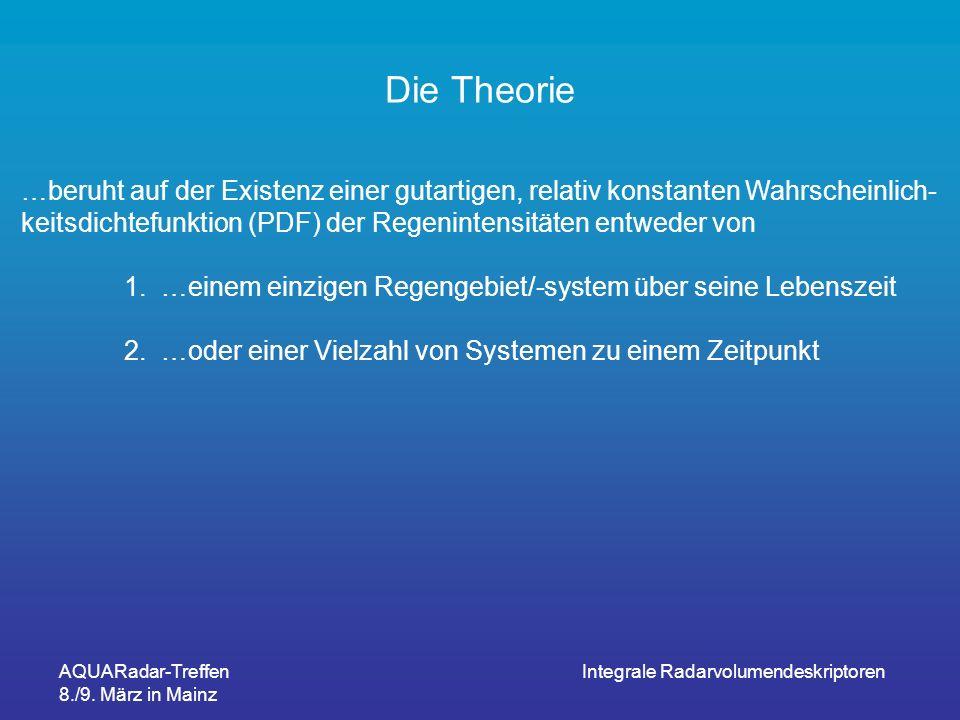 AQUARadar-Treffen 8./9. März in Mainz Integrale Radarvolumendeskriptoren Die Theorie …beruht auf der Existenz einer gutartigen, relativ konstanten Wah