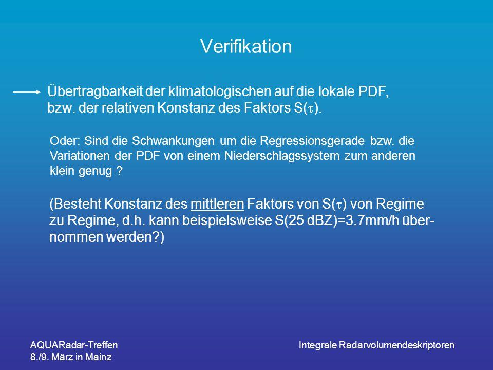 AQUARadar-Treffen 8./9. März in Mainz Integrale Radarvolumendeskriptoren Verifikation Übertragbarkeit der klimatologischen auf die lokale PDF, bzw. de
