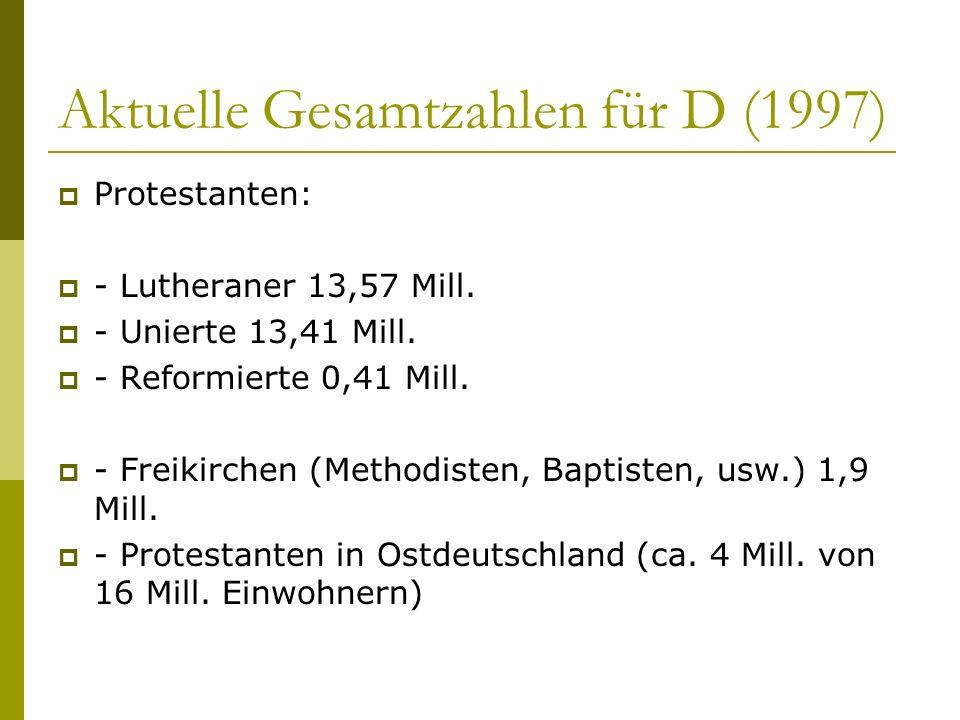 Aktuelle Gesamtzahlen für D (1997) Protestanten: - Lutheraner 13,57 Mill. - Unierte 13,41 Mill. - Reformierte 0,41 Mill. - Freikirchen (Methodisten, B