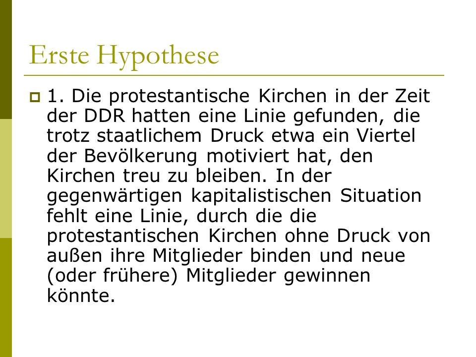 Erste Hypothese 1. Die protestantische Kirchen in der Zeit der DDR hatten eine Linie gefunden, die trotz staatlichem Druck etwa ein Viertel der Bevölk