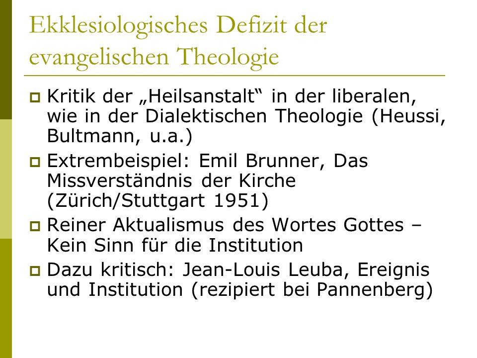 Ekklesiologisches Defizit der evangelischen Theologie Kritik der Heilsanstalt in der liberalen, wie in der Dialektischen Theologie (Heussi, Bultmann,