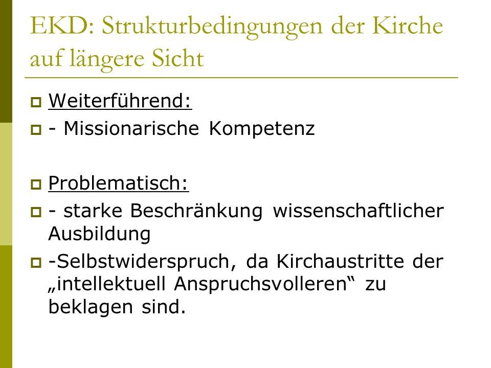 EKD: Strukturbedingungen der Kirche auf längere Sicht Weiterführend: - Missionarische Kompetenz Problematisch: - starke Beschränkung wissenschaftliche
