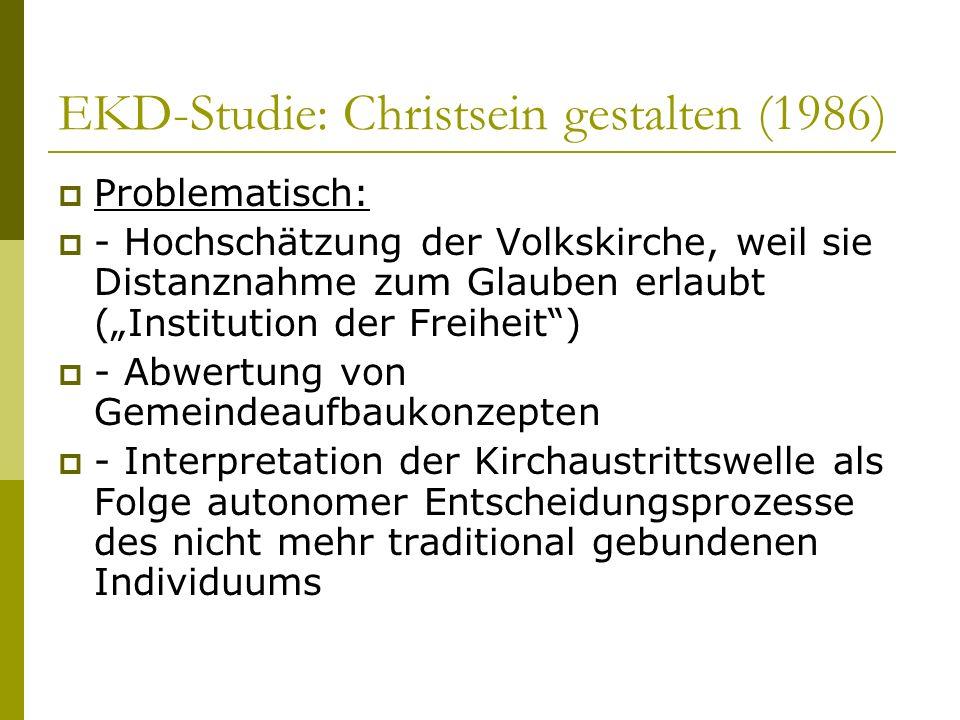 EKD-Studie: Christsein gestalten (1986) Problematisch: - Hochschätzung der Volkskirche, weil sie Distanznahme zum Glauben erlaubt (Institution der Fre