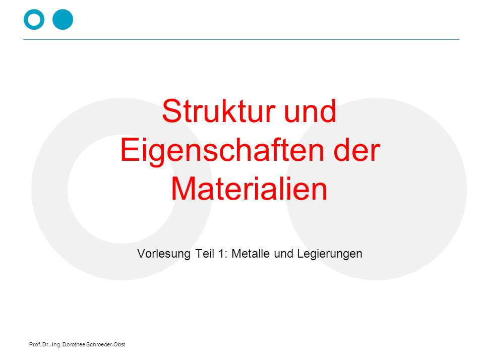 Prof. Dr.-Ing. Dorothee Schroeder-Obst Struktur und Eigenschaften der Materialien Vorlesung Teil 1: Metalle und Legierungen
