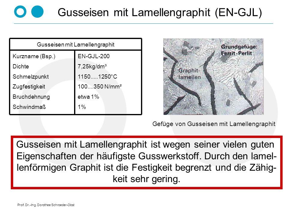Prof. Dr.-Ing. Dorothee Schroeder-Obst Gusseisen mit Lamellengraphit (EN-GJL) Gusseisen mit Lamellengraphit ist wegen seiner vielen guten Eigenschafte