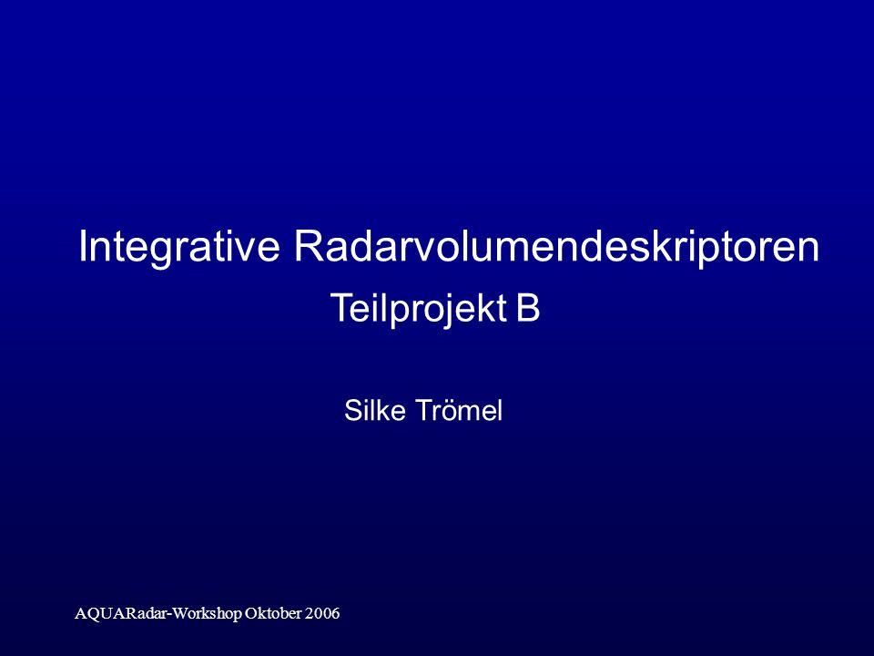 AQUARadar-Workshop Oktober 2006 Integrative Radarvolumendeskriptoren Silke Trömel Teilprojekt B