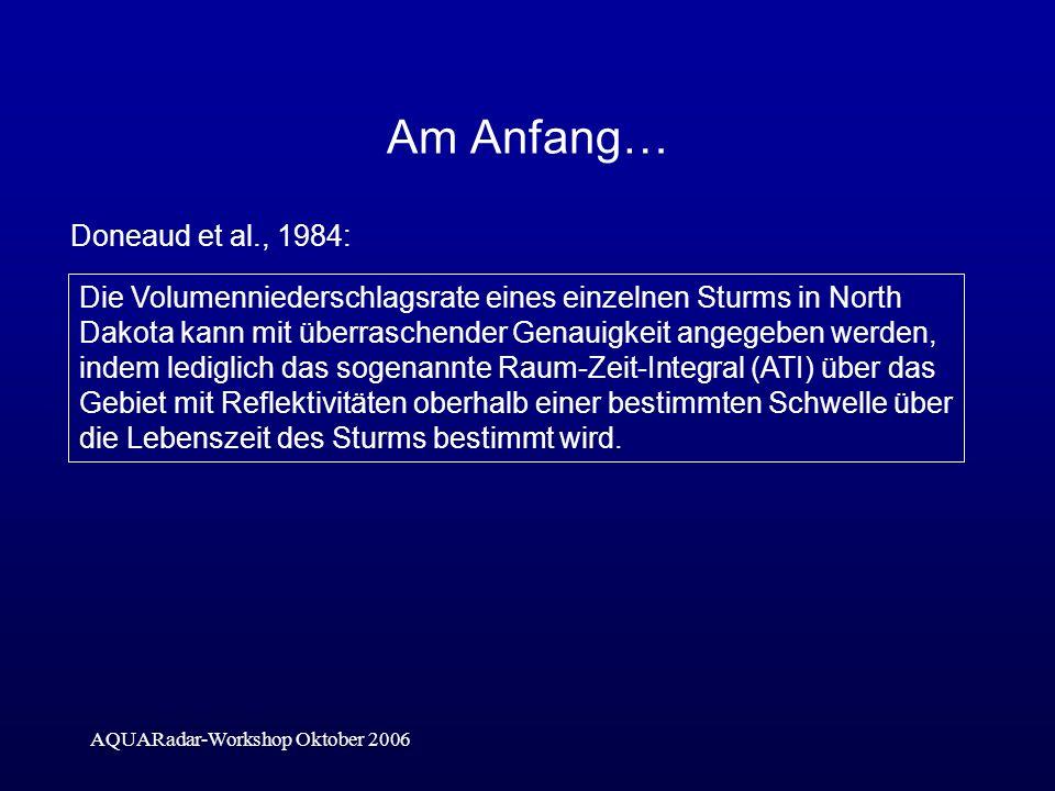 AQUARadar-Workshop Oktober 2006 Am Anfang… Doneaud et al., 1984: V=3.7 (ATI) Schwelle Z [dBZ] 202530 Schwelle [mm/h] 0.651.332.72 S [mm/h] 1.253.720