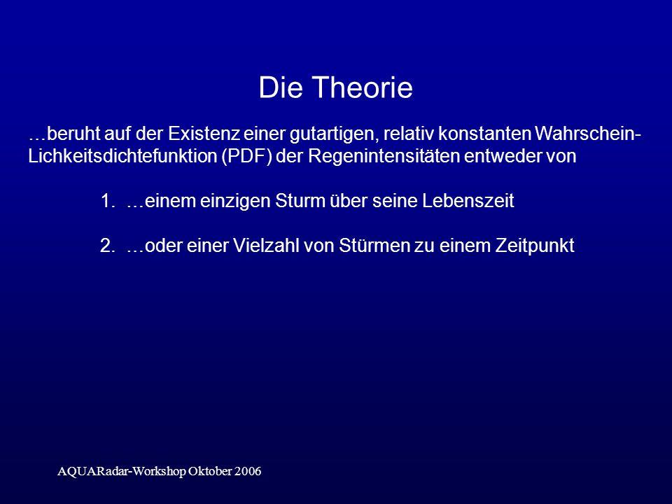 AQUARadar-Workshop Oktober 2006 Die Theorie …beruht auf der Existenz einer gutartigen, relativ konstanten Wahrschein- Lichkeitsdichtefunktion (PDF) der Regenintensitäten entweder von 1.