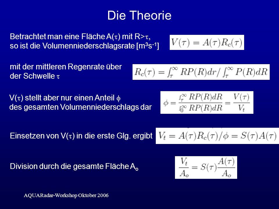 AQUARadar-Workshop Oktober 2006 Die Theorie Betrachtet man eine Fläche A( ) mit R> so ist die Volumenniederschlagsrate [m 3 s -1 ] mit der mittleren Regenrate über der Schwelle V( ) stellt aber nur einen Anteil des gesamten Volumenniederschlags dar Einsetzen von V( ) in die erste Glg.