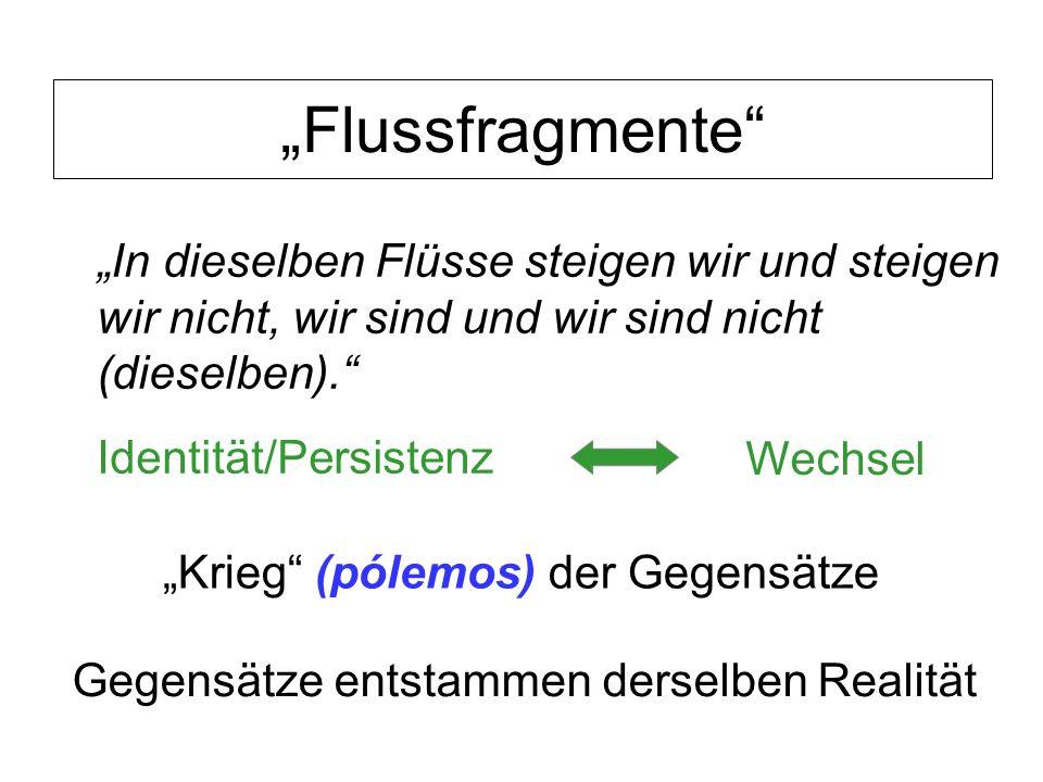Flussfragmente Identität/Persistenz Wechsel Krieg (pólemos) der Gegensätze Gegensätze entstammen derselben Realität In dieselben Flüsse steigen wir un