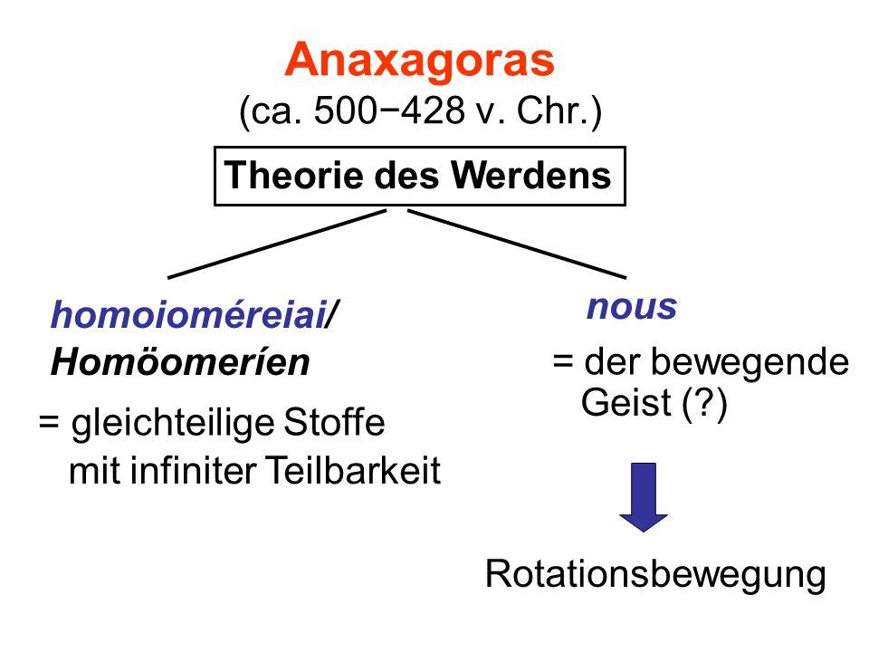Anaxagoras (ca. 500428 v. Chr.) Theorie des Werdens homoioméreiai/ Homöomeríen = gleichteilige Stoffe nous = der bewegende mit infiniter Teilbarkeit G