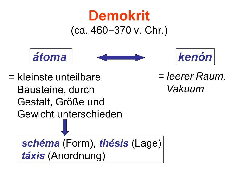 Demokrit (ca. 460370 v. Chr.) átomakenón = kleinste unteilbare Bausteine, durch Gestalt, Größe und Gewicht unterschieden = leerer Raum, Vakuum schéma