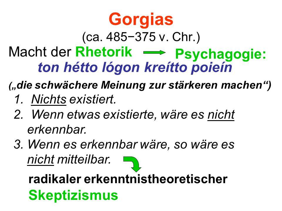 Gorgias (ca. 485375 v. Chr.) Macht der Rhetorik Psychagogie: ton hétto lógon kreítto poieín radikaler erkenntnistheoretischer Skeptizismus 1. Nichts e