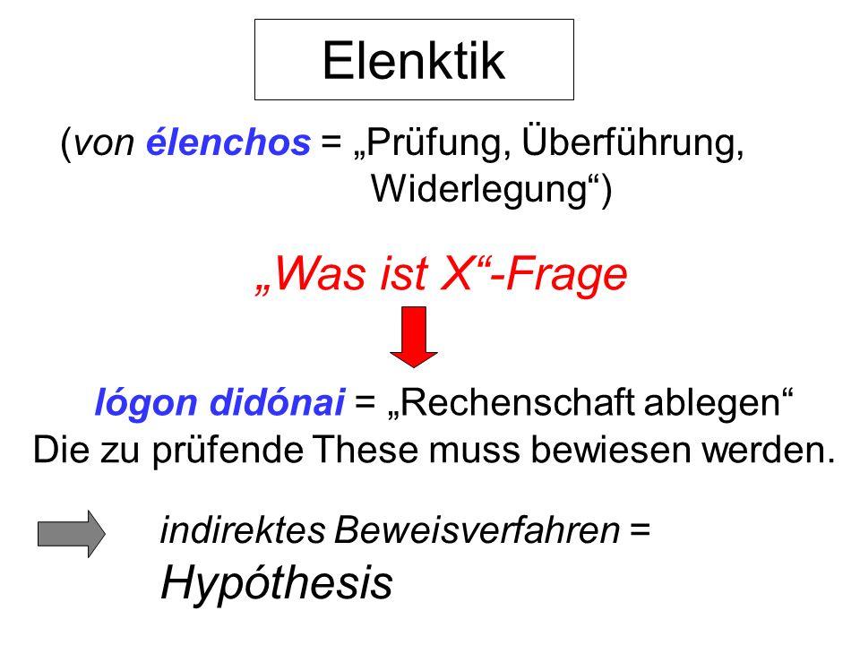 Elenktik (von élenchos = Prüfung, Überführung, Widerlegung) Was ist X-Frage lógon didónai = Rechenschaft ablegen Die zu prüfende These muss bewiesen w