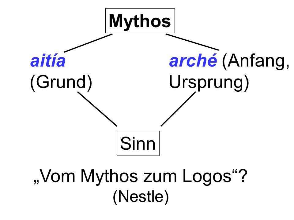 Mythos aitía (Grund) arché (Anfang, Ursprung) Sinn Vom Mythos zum Logos? (Nestle)