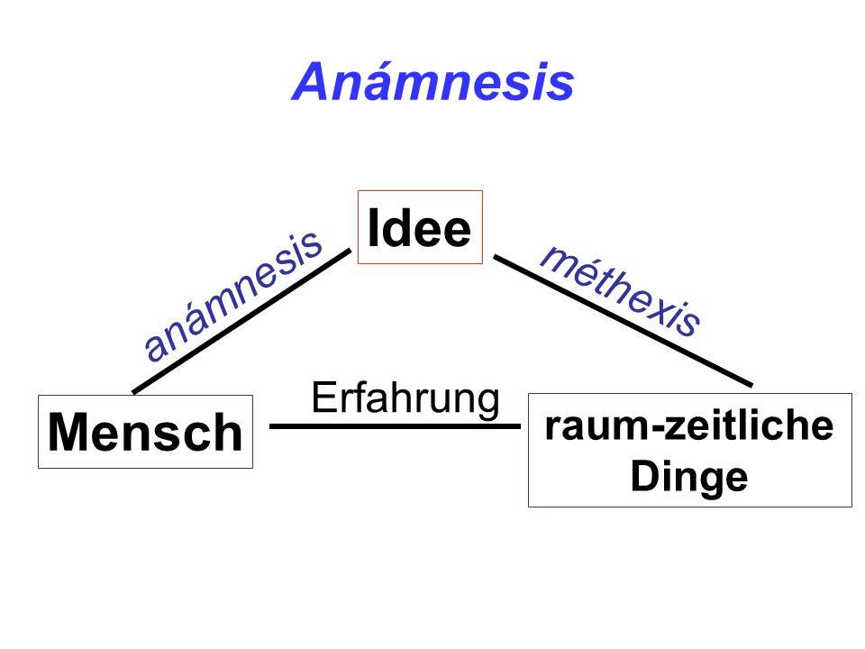 Anámnesis Idee Mensch raum-zeitliche Dinge anámnesis méthexis Erfahrung