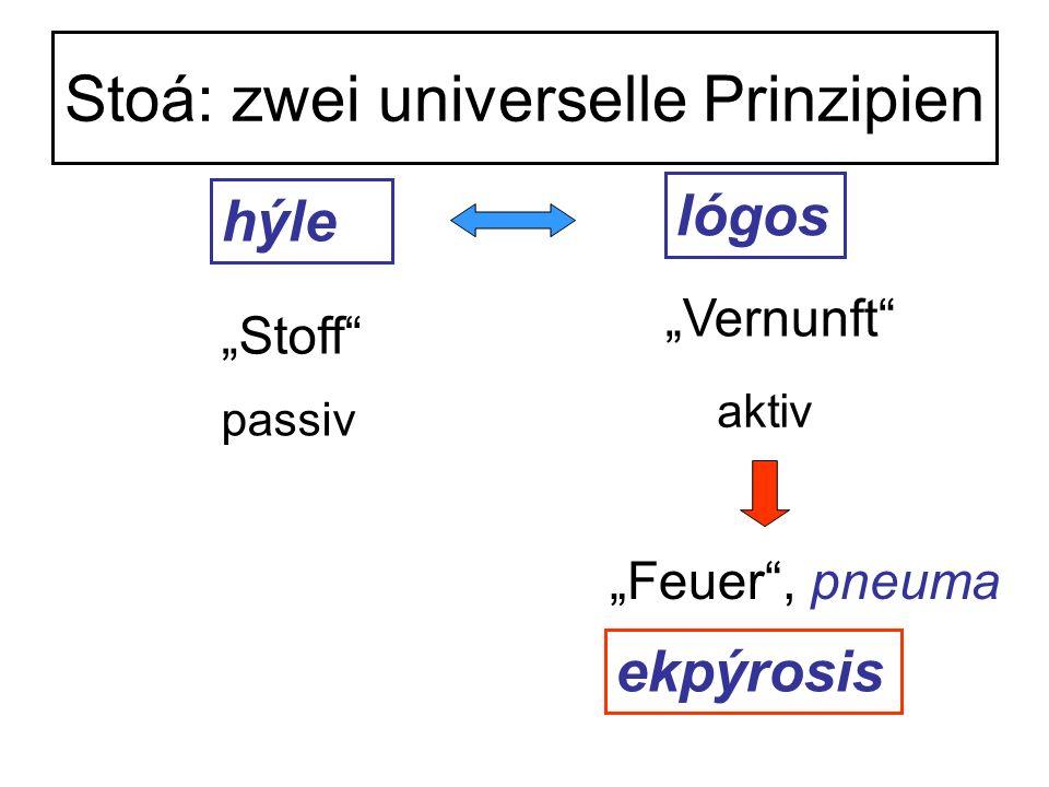 Stoá: zwei universelle Prinzipien hýle lógos Stoff Vernunft passiv aktiv Feuer, pneuma ekpýrosis