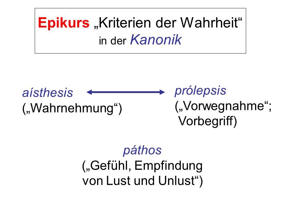 Epikurs Kriterien der Wahrheit in der Kanonik aísthesis (Wahrnehmung) prólepsis (Vorwegnahme; Vorbegriff) páthos (Gefühl, Empfindung von Lust und Unlu