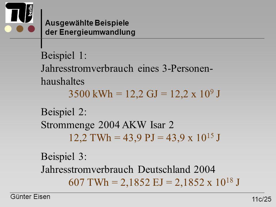 Günter Eisen 11c/25 Ausgewählte Beispiele der Energieumwandlung Beispiel 1: Jahresstromverbrauch eines 3-Personen- haushaltes 3500 kWh = 12,2 GJ = 12,