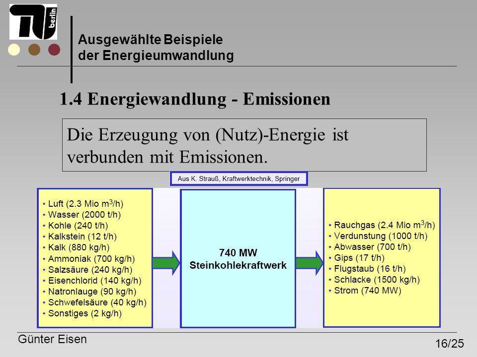 Günter Eisen 16/25 Ausgewählte Beispiele der Energieumwandlung 1.4 Energiewandlung - Emissionen Die Erzeugung von (Nutz)-Energie ist verbunden mit Emi