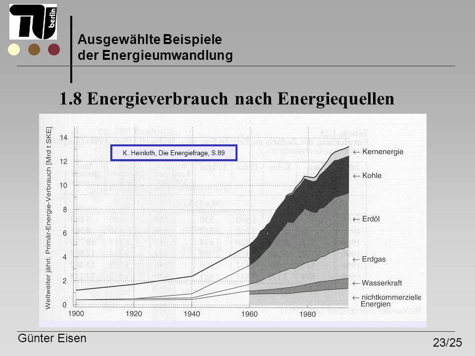 Günter Eisen 23/25 Ausgewählte Beispiele der Energieumwandlung 1.8 Energieverbrauch nach Energiequellen