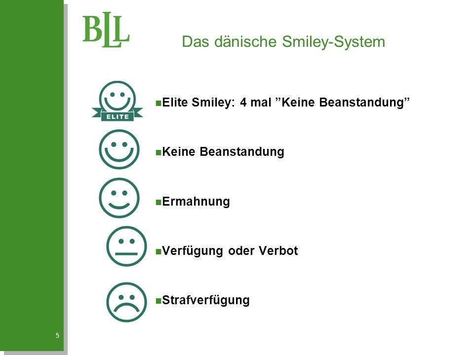 5 Das dänische Smiley-System n Elite Smiley: 4 mal Keine Beanstandung n Keine Beanstandung n Ermahnung n Verfügung oder Verbot n Strafverfügung
