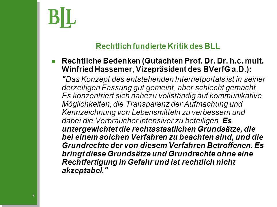 8 Rechtlich fundierte Kritik des BLL n Rechtliche Bedenken (Gutachten Prof.