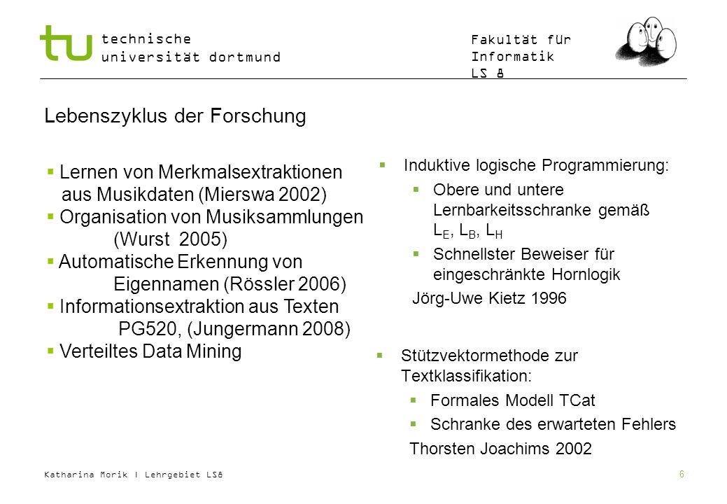 Katharina Morik | Lehrgebiet LS8 technische universität dortmund Fakultät für Informatik LS 8 6 Lebenszyklus der Forschung Stützvektormethode zur Text