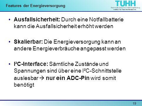 Institut für Nachrichtentechnik 19 Features der Energieversorgung Ausfallsicherheit: Durch eine Notfallbatterie kann die Ausfallsicherheit erhöht werd