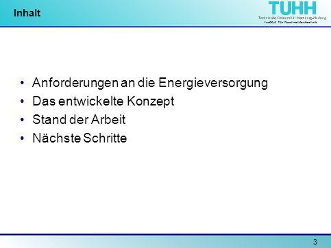 Institut für Nachrichtentechnik 3 Inhalt Anforderungen an die Energieversorgung Das entwickelte Konzept Stand der Arbeit Nächste Schritte