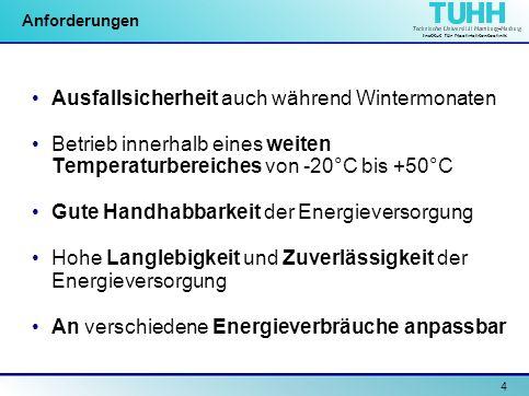 Institut für Nachrichtentechnik 15 Konzept Solarpanel U nenn : 3,9V U leerlauf : 4,9 V Pufferkondensator Temperatur- kompensation Blei-Gel-Akku 2 x 2,0 V Ubatt: 3,8 V – 5,1 V Kapazität: 2,5 Ah Kontroll- schaltung Bypass Energiepfade Steuerpfade und Kontrollsignale Ein/Aus Einstellen der Ladespannung Kontrolsig.