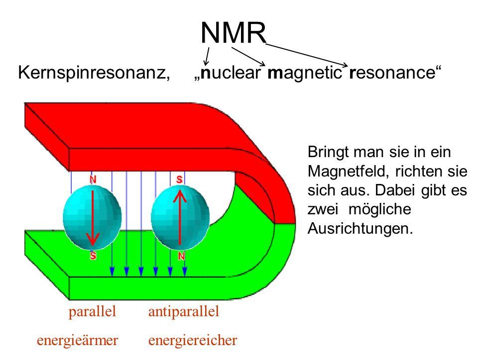 Protonen haben Ladung und Spin (~ Drehrichtung). Sie verhalten sich daher wie winzige Magnete. NMR Kernspinresonanz, nuclear magnetic resonance Bringt