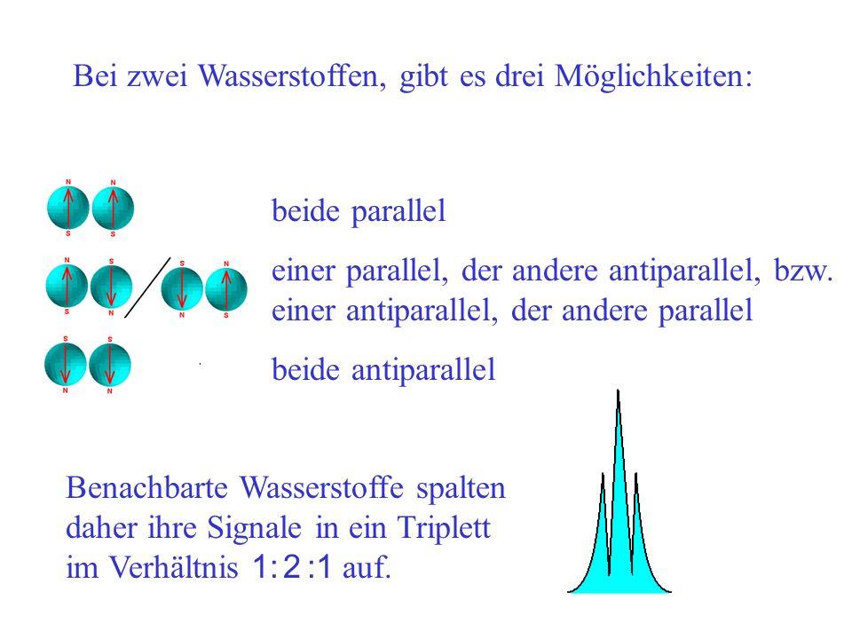 Bei zwei Wasserstoffen, gibt es drei Möglichkeiten: beide parallel einer parallel, der andere antiparallel, bzw. einer antiparallel, der andere parall