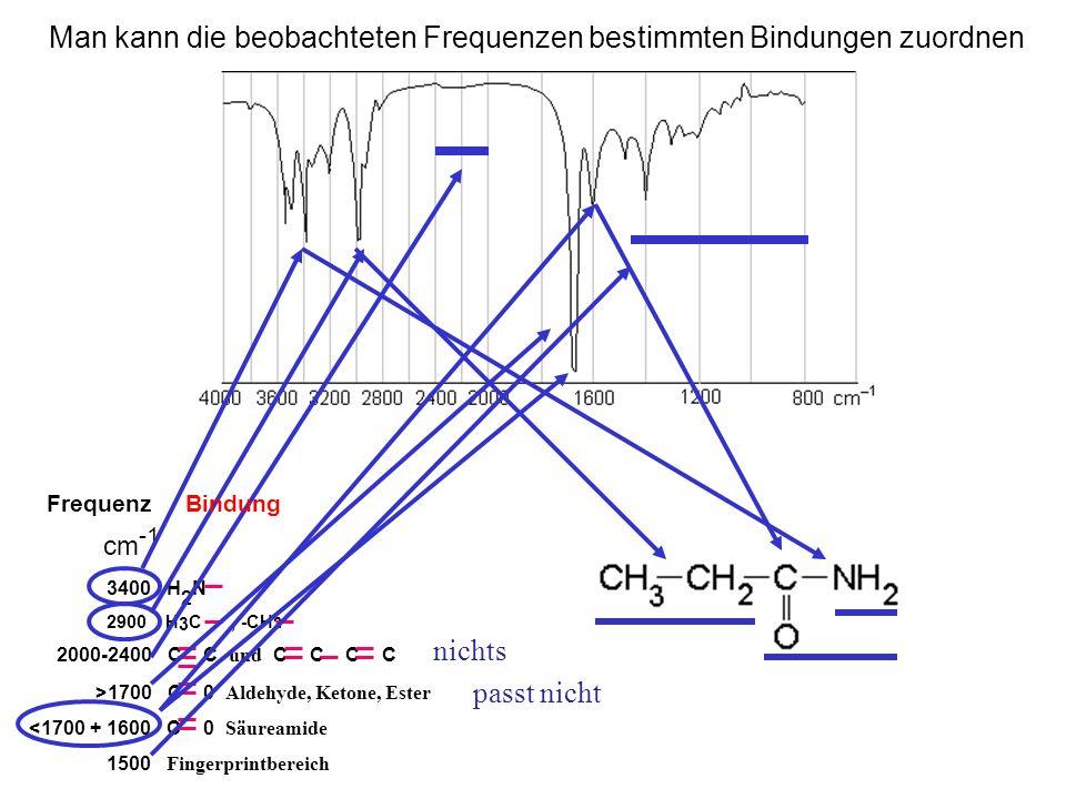 2000-2400 C C und C C C C >1700 C 0 Aldehyde, Ketone, Ester <1700 + 1600 C 0 Säureamide 1500 Fingerprintbereich cm -1 3400 H 2 N 2900 H 3 C, -CH 2 Man