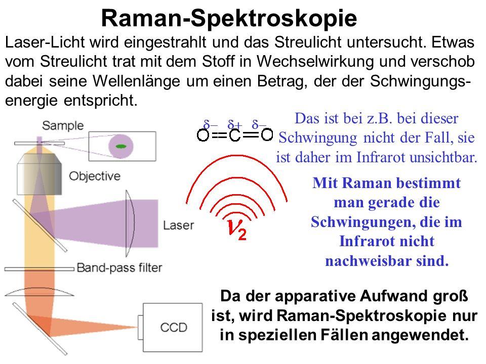 Infrarot-Spektroskopie (IR) Infrarotes Licht regt Moleküle zur Schwingung (und Rotation) an. Die Bindungen absorbieren Licht bei bestimmten, für sie c