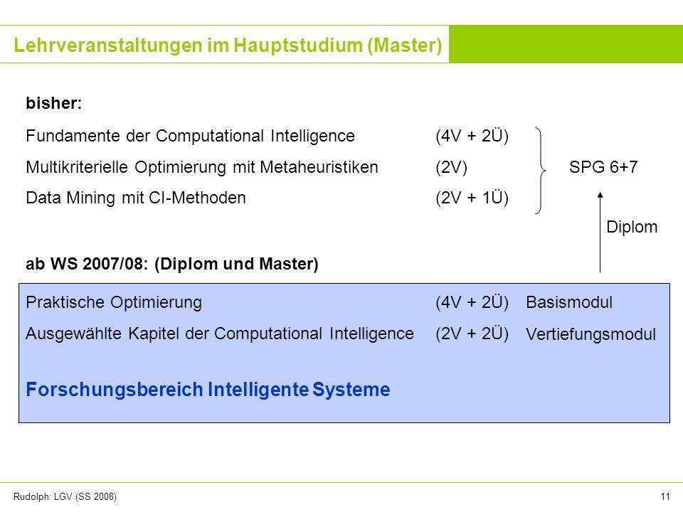 Rudolph: LGV (SS 2008)11 Lehrveranstaltungen im Hauptstudium (Master) Fundamente der Computational Intelligence(4V + 2Ü) Multikriterielle Optimierung