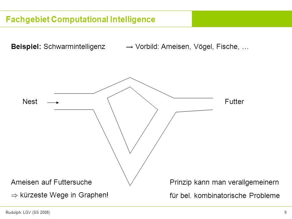 Rudolph: LGV (SS 2008)9 Fachgebiet Computational Intelligence Beispiel: Schwarmintelligenz Vorbild: Ameisen, Vögel, Fische, … Ameisen auf Futtersuche