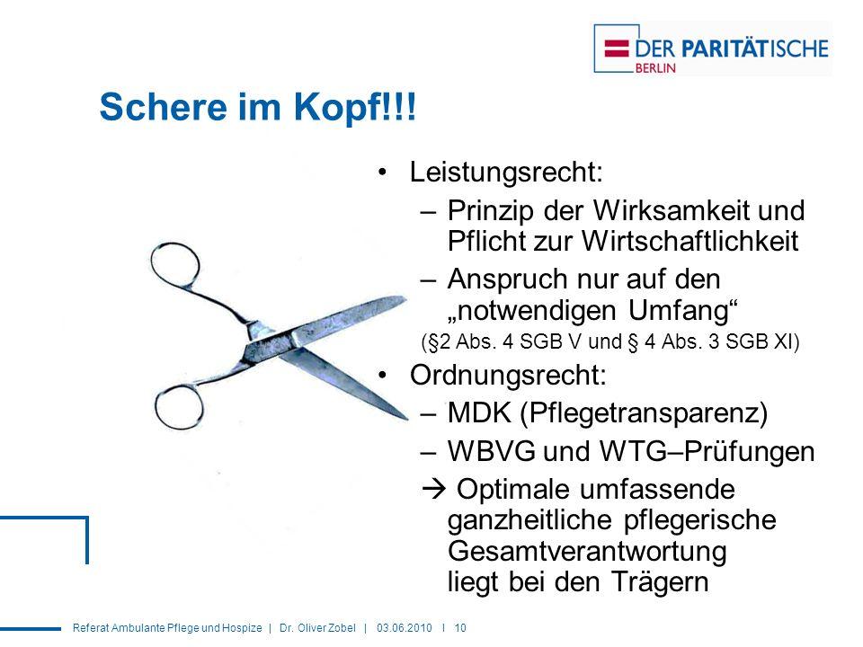 Referat Ambulante Pflege und Hospize | Dr.Oliver Zobel | 03.06.2010 I 10 Schere im Kopf!!.