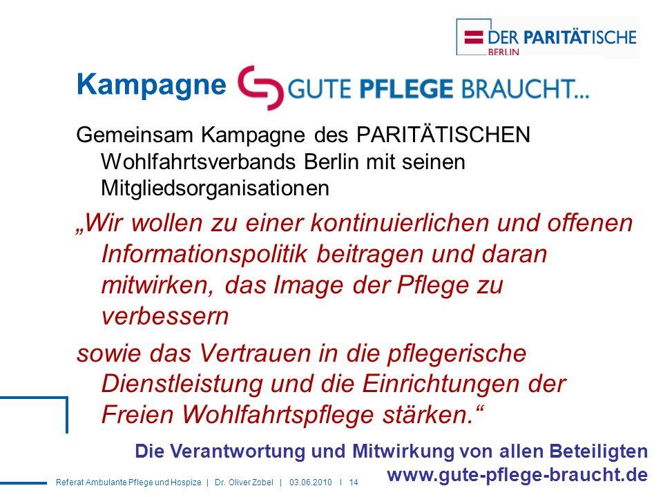Referat Ambulante Pflege und Hospize | Dr. Oliver Zobel | 03.06.2010 I 14 Kampagne Gemeinsam Kampagne des PARITÄTISCHEN Wohlfahrtsverbands Berlin mit