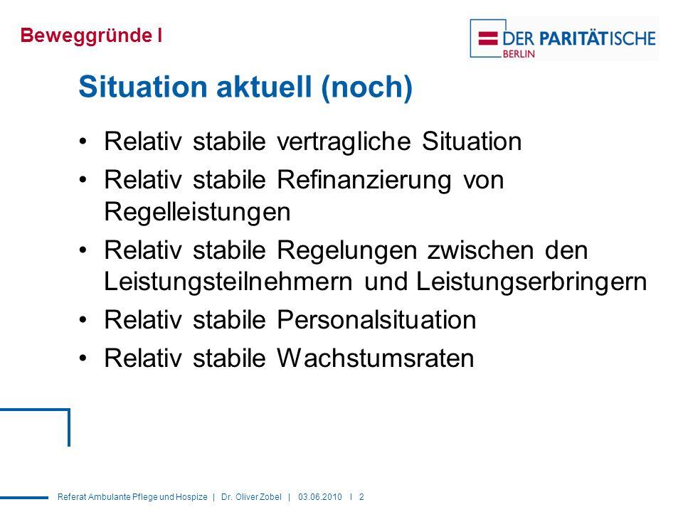 Referat Ambulante Pflege und Hospize | Dr. Oliver Zobel | 03.06.2010 I 2 Situation aktuell (noch) Relativ stabile vertragliche Situation Relativ stabi