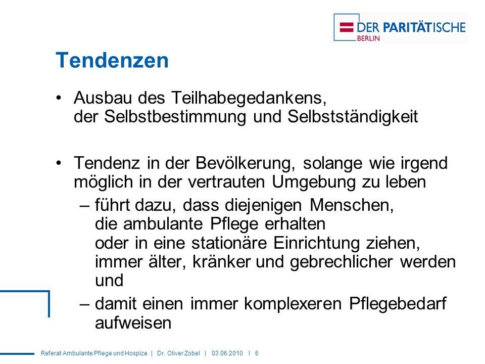 Referat Ambulante Pflege und Hospize | Dr. Oliver Zobel | 03.06.2010 I 6 Tendenzen Ausbau des Teilhabegedankens, der Selbstbestimmung und Selbstständi
