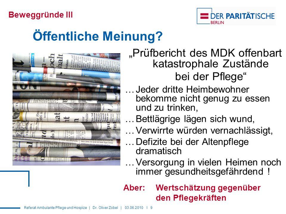Referat Ambulante Pflege und Hospize | Dr.Oliver Zobel | 03.06.2010 I 9 Öffentliche Meinung.