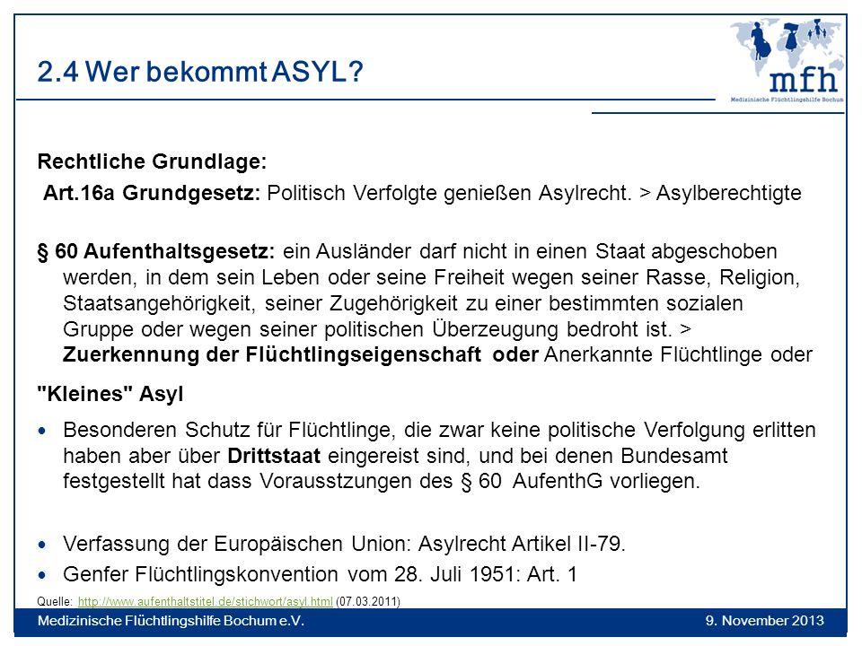 2.4 Wer bekommt ASYL? Rechtliche Grundlage: Art.16a Grundgesetz: Politisch Verfolgte genießen Asylrecht. > Asylberechtigte § 60 Aufenthaltsgesetz: ein