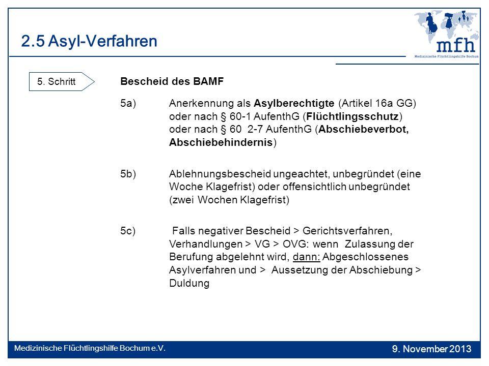 2.5 Asyl-Verfahren 5. Schritt Bescheid des BAMF 5a)Anerkennung als Asylberechtigte (Artikel 16a GG) oder nach § 60-1 AufenthG (Flüchtlingsschutz) oder